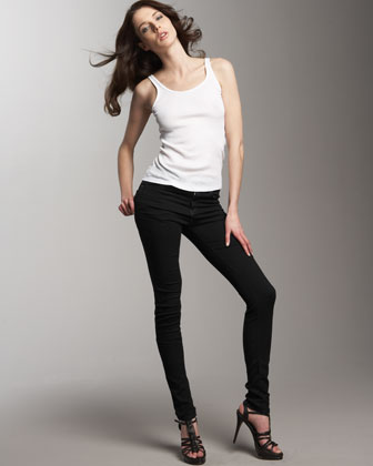 The High-Waist Skinny Jeans, Blue Black
